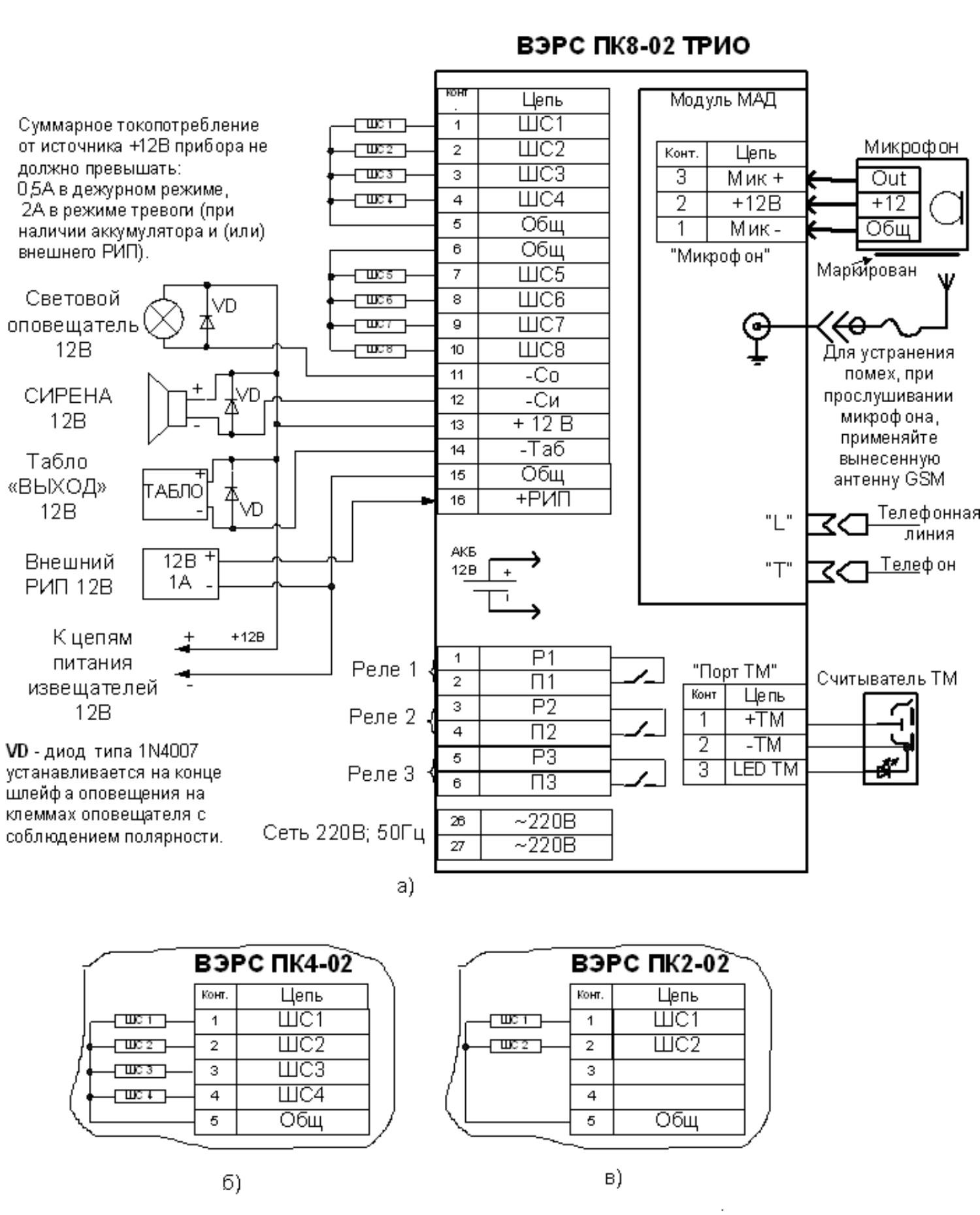 схема подключения пожарный извещатель корба