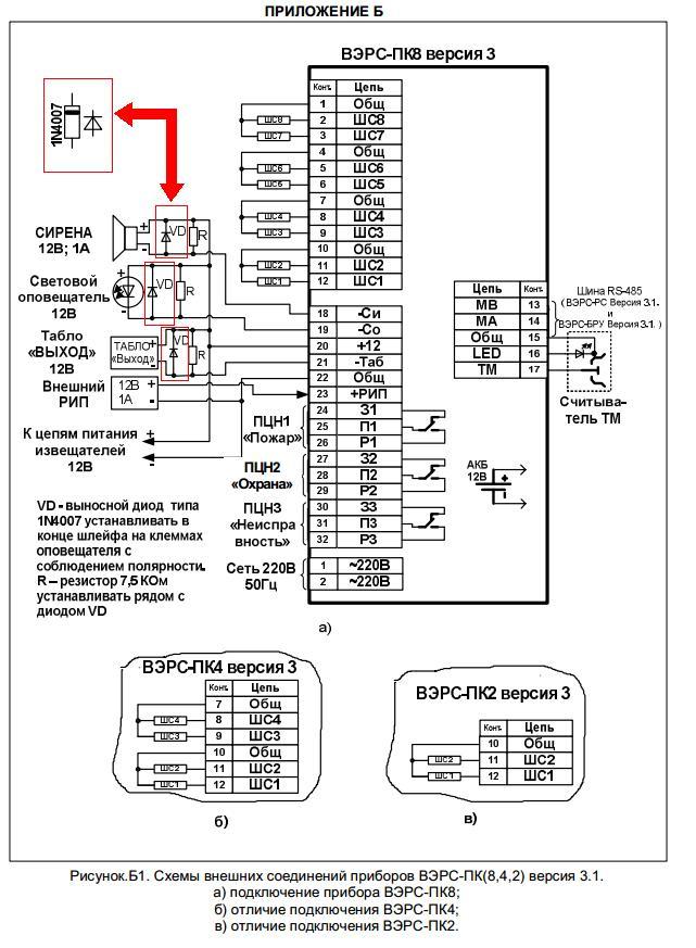 Схемы внешних подключений